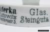 Popielniczka porcelanowa z miejscem na pudełko zapałek reklamująca malarnię Louisa Taterki.