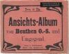 Kilkustronicowy, rozkładany album zawierający czarno-białe litografie przedstawiające dawny Bytom.